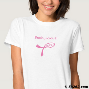 fun breast cancer running shirt image: Boobylicious