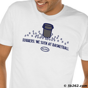 running shirt illustration: Runners - we suck at basketball