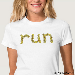 "girly running shirt image: Flowery ""run"""